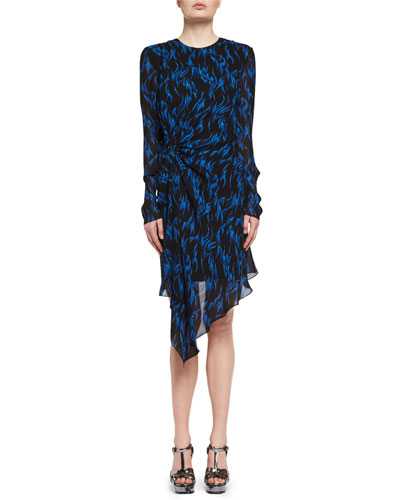 Flame-Print Draped Long-Sleeve Dress, Black/Blue