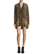 Leopard Silk Babydoll Dress with Necktie