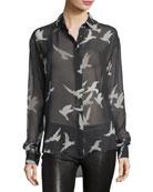 Bird-Print Sheer Silk Shirt