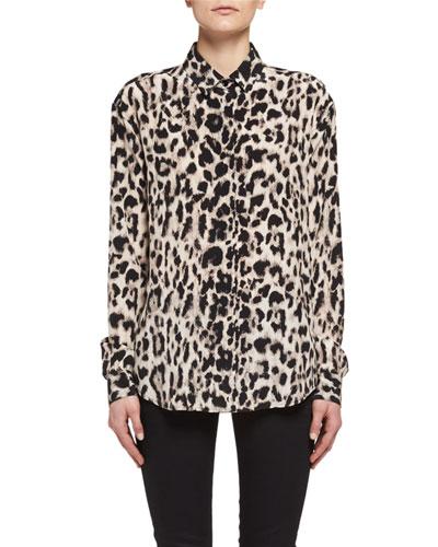 Classic Leopard-Print Silk Shirt, Fauve/Beige/Brown