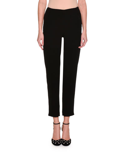 Cropped Straight-Leg Ankle-Zip Pants, Black