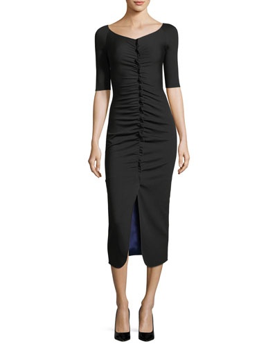 Ruched Jersey Midi Dress