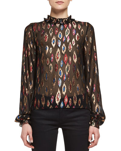 Embroidered Peacock Ruffle-Collar Blouse, Black/Multi