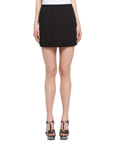 Fringed Mini Skirt, Black (Noir)