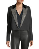 Iconic Le Smoking Spencer Fitted Jacket with Embellished Lapel