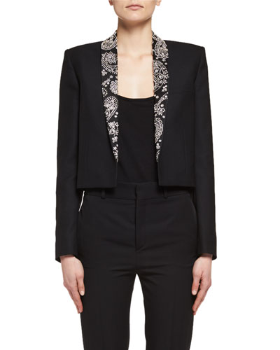 Spencer Rhinestone-Embroidered Cropped Jacket