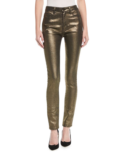 High-Rise Skinny-Leg Metallic Jeans