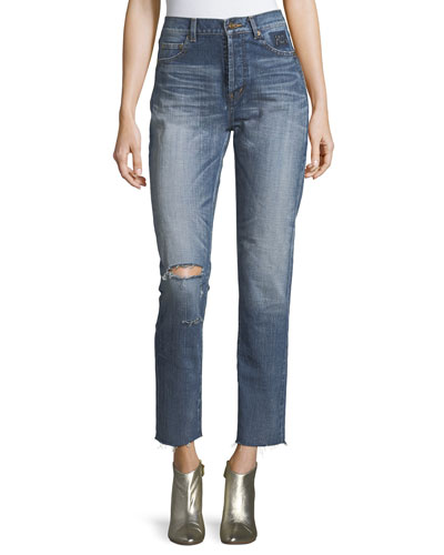 Distressed High-Waist Straight-Leg Jeans