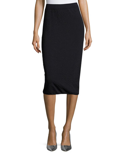 Leopard Jacquard Pencil Skirt, Deep Sea