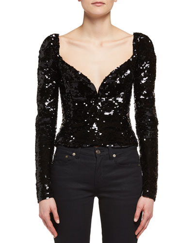 Sequined Sweetheart Top, Black