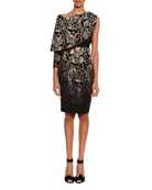 Animal-Print One-Sleeve Draped Dress with Leather Bustier