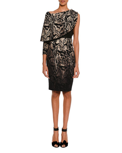 Animal-Print One-Sleeve Draped Dress with Leather Bustier, Smoke