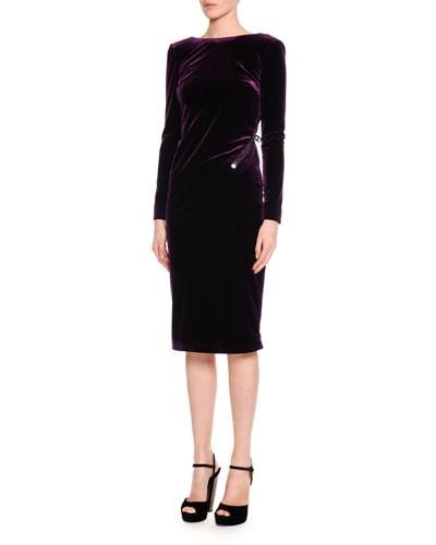Velvet Drape-Back Dress with Zipper Trim, Purple