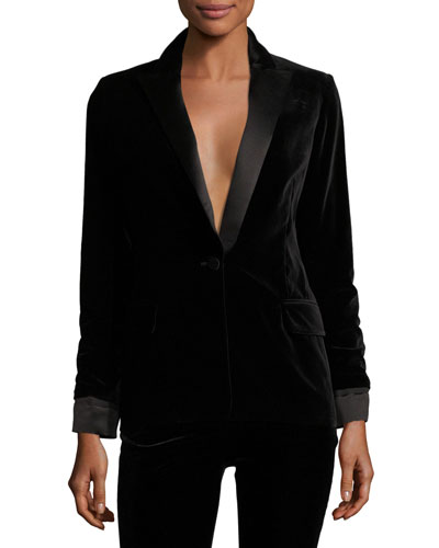 Satin-Lapel Velvet Blazer, Black