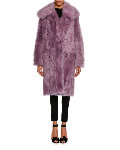 Oversized Teddy Shearling Fur Coat, Lavender