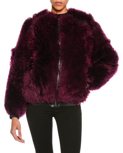 Lamb Fur Chubby Bomber Jacket, Wine