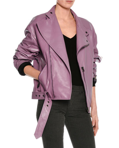 Lamb Leather Oversized Moto Jacket, Lilac