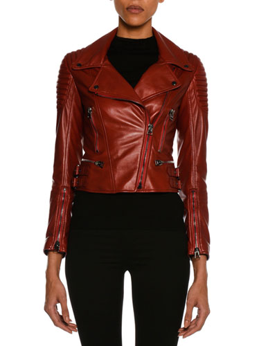 Lamb Leather Moto Jacket, Scarlet