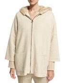 Cashmere Zip-Front Parka with Mink Fur Hood