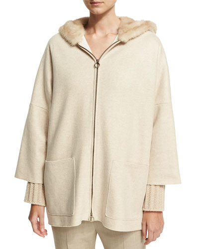 Cashmere Zip-Front Parka with Mink Fur Hood