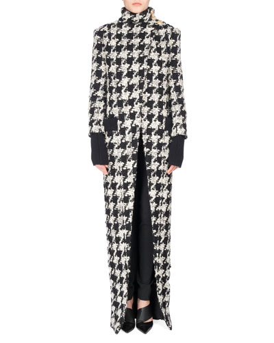 Long Oversized Houndstooth Coat, Black/White