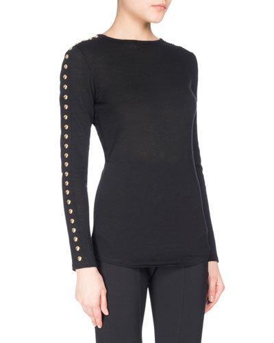 Button-Sleeve Jersey Top, Black
