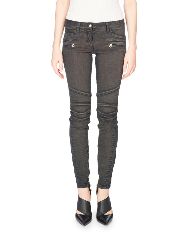Low-Rise Biker Jeans, Gray