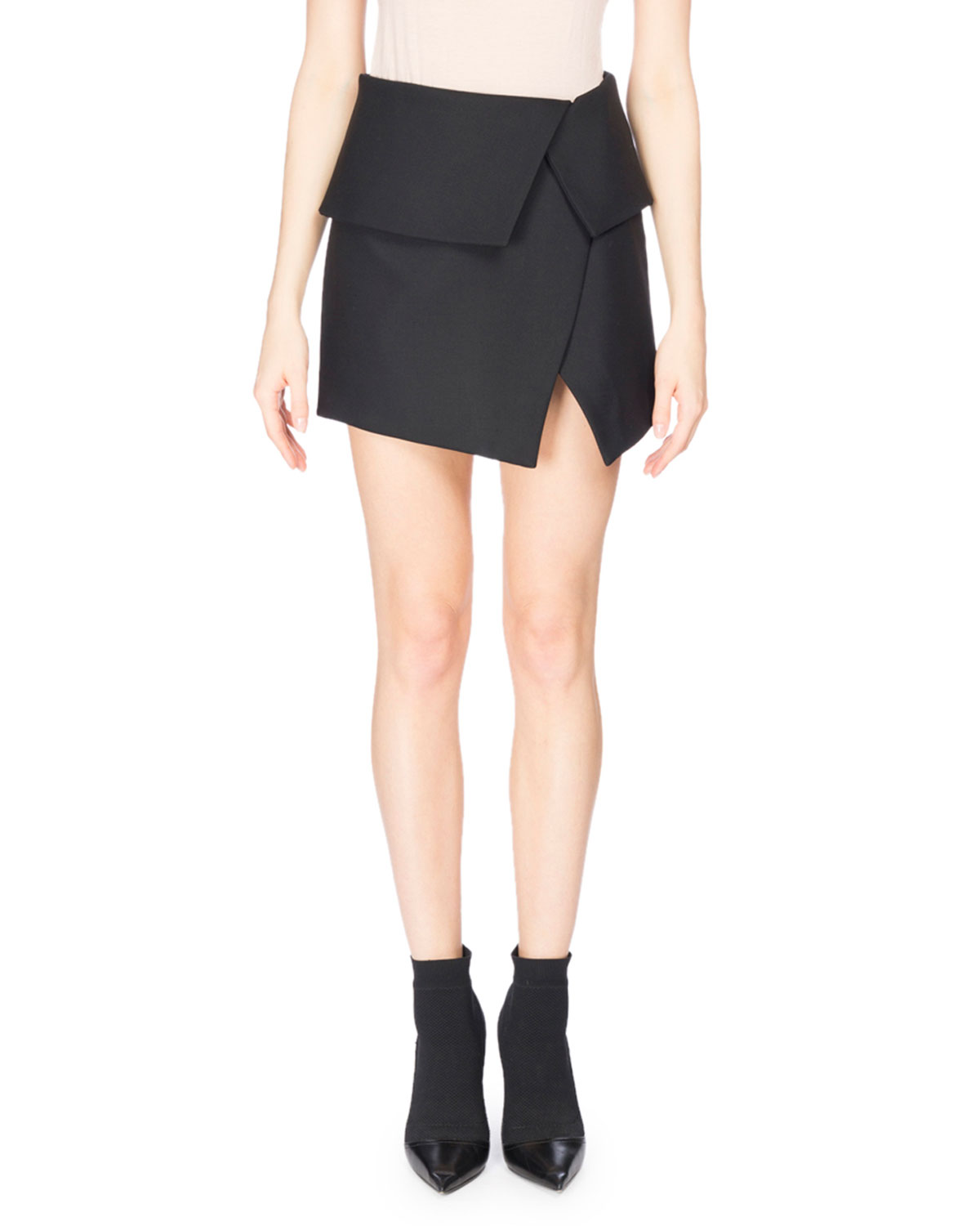 Fold-Over Asymmetric Miniskirt, Black