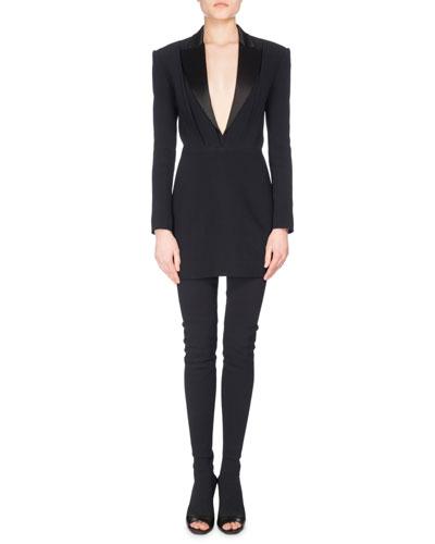 Satin-Lapel V-Neck Crepe Tuxedo Minidress, Black