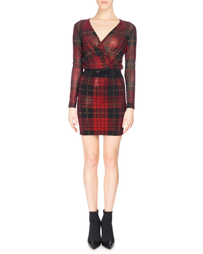 Strass Tartan Plaid Draped Minidress, Red/Black