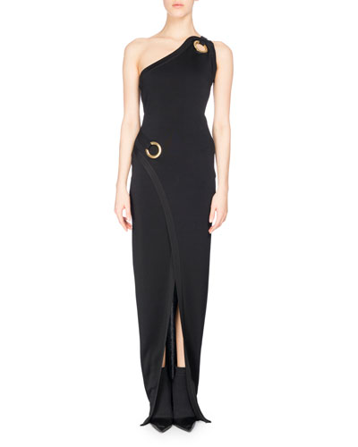One-Shoulder Wrap Gown with Golden Rings, Black