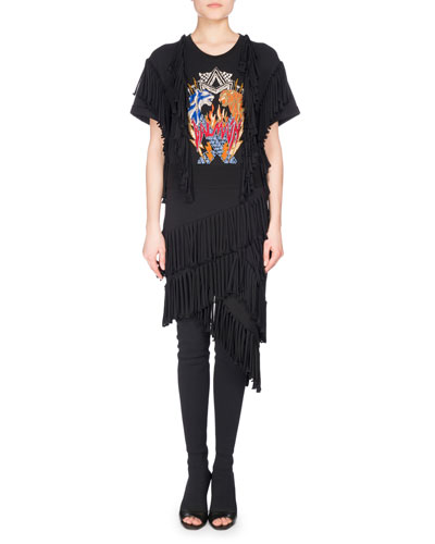 Fringe-Trim Rocker T-Shirt Dress, Black