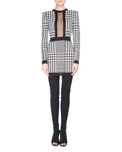 Long-Sleeve Houndstooth Minidress, Black/White