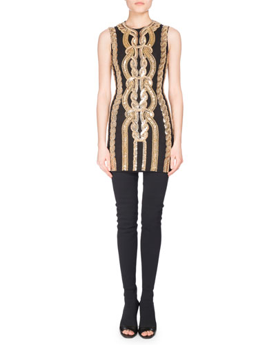 Sequined Sleeveless Minidress, Black/Gold