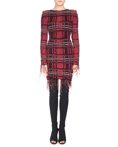 Long-Sleeve Fringe-Trim Tweed Minidress, Pink/Black