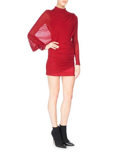 Draped Long-Sleeve Mock-Neck Minidress, Dark Red