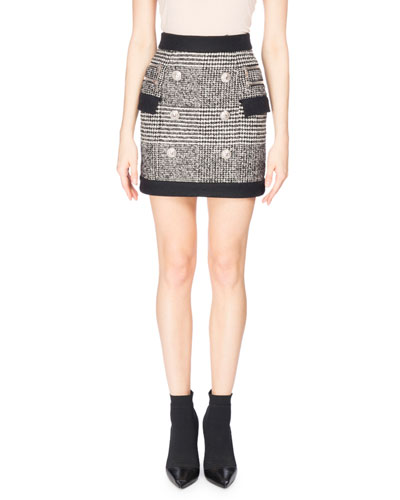 Houndstooth Button Miniskirt, Black/White