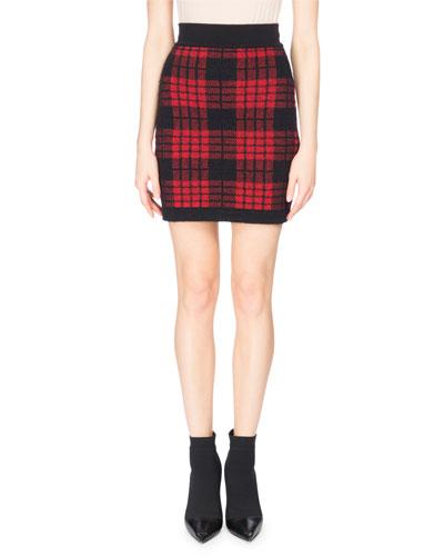 Tartan Knit Miniskirt, Red/Black
