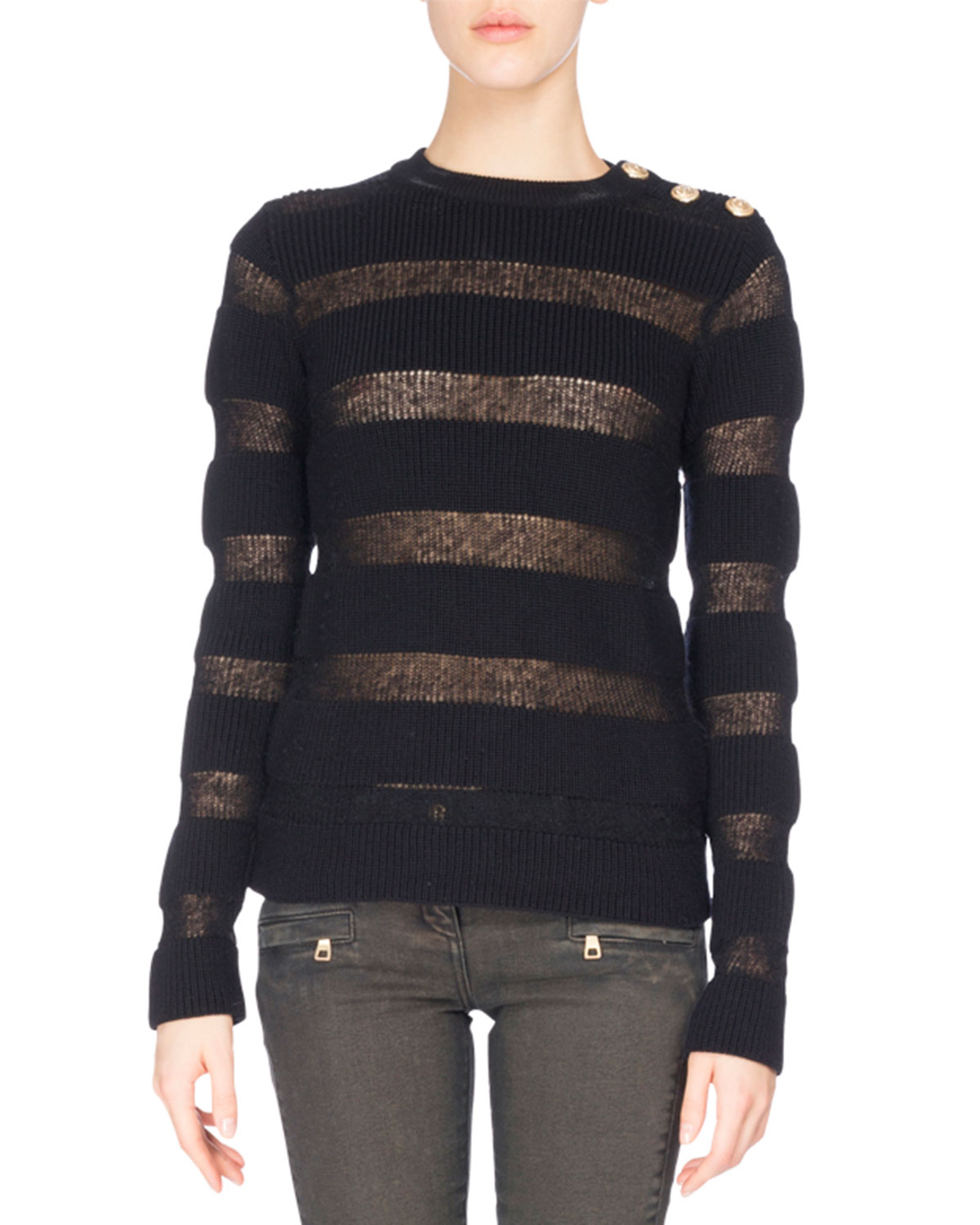 Sheer-Stripe Button-Shoulder Sweater, Black