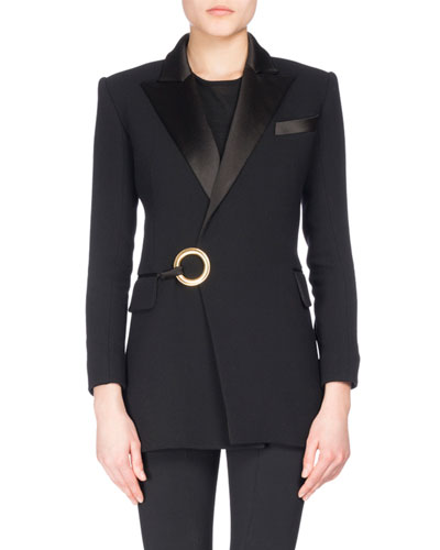 Satin-Lapel Tuxedo Jacket with Ring Detail, Black