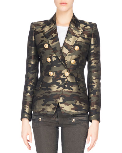 Camouflage Double-Breasted Blazer, Green