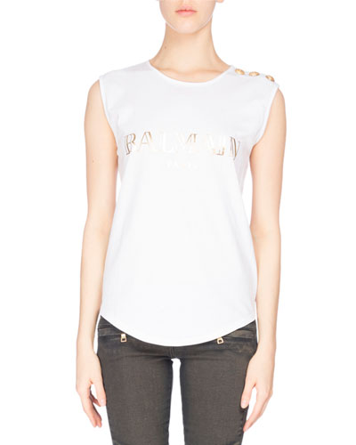 Logo Button-Detail Muscle Tee, White