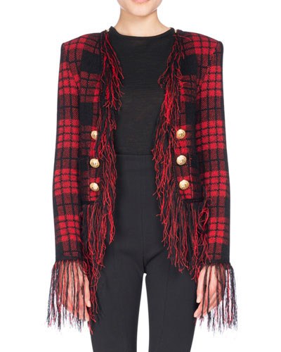 Tartan Tweed Jacket with Fringe, Black/Red