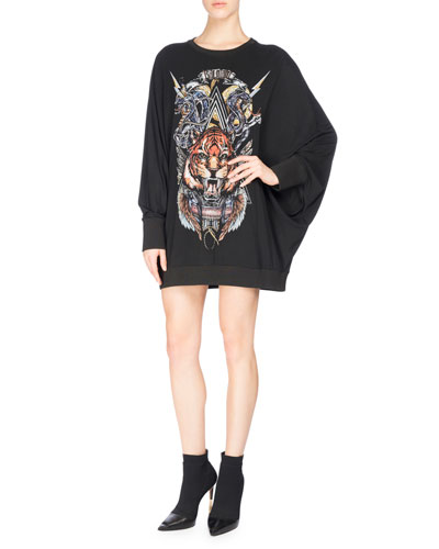 Tiger Logo Graphic Sweatshirt, Black