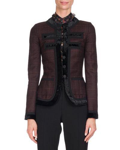 Velvet-Trim Prince of Wales Plaid Jacket, Purple
