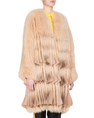 Fox Fur Chiffon-Trim Coat, Camel