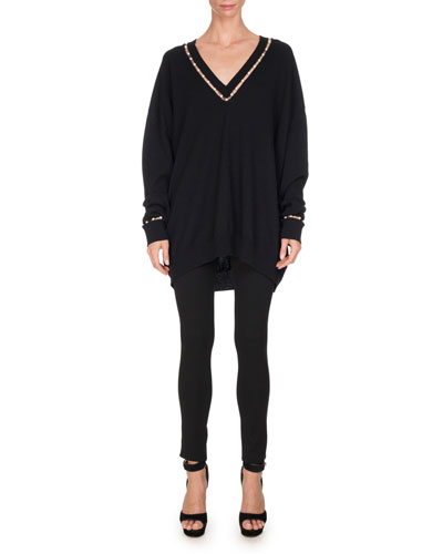 Pearly-Inset Oversized V-Neck Sweater, Black