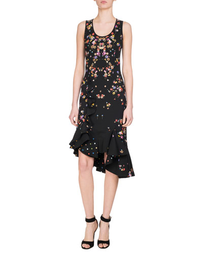 Pansy-Print Sleeveless Ruffle-Trim Dress, Multicolor