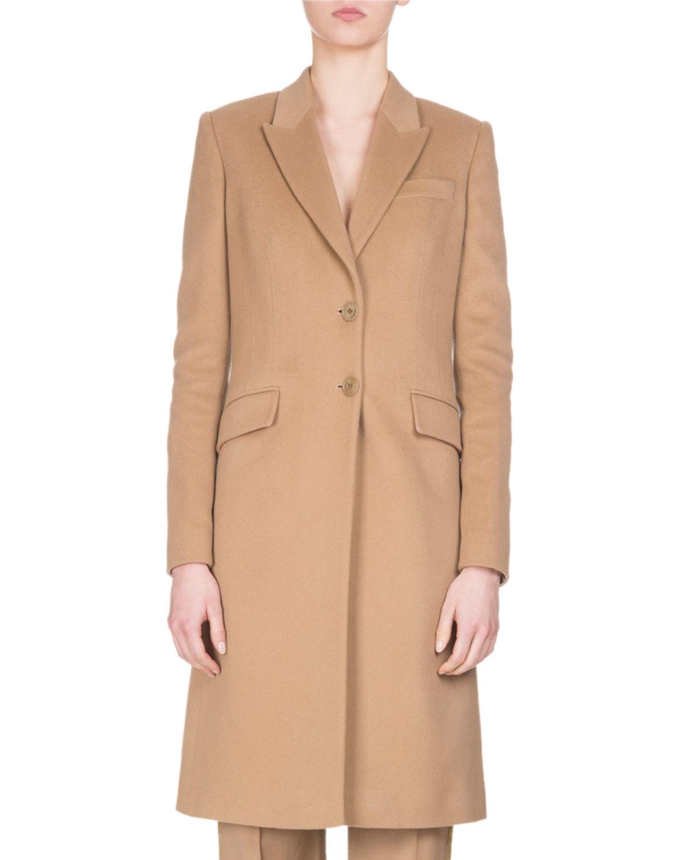 Wool-Cashmere Classic Coat, Camel