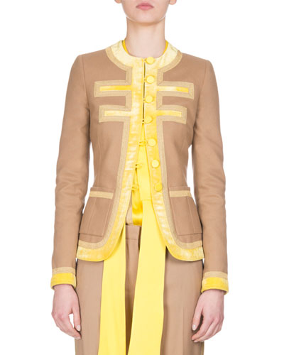 Wool Velvet-trim Jacket, Camel